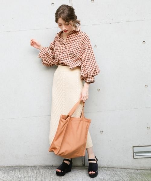 [Heather] レトロチェックボリュームシャツ 807099