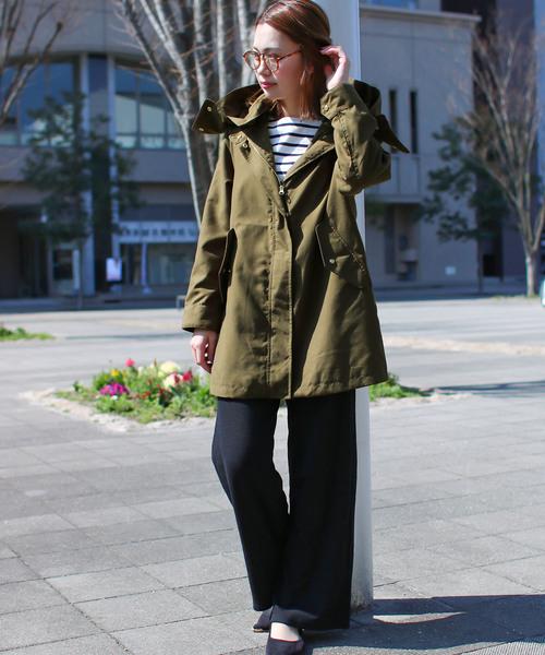 Social GIRL 2WAYスタンドカラーミリタリーフードアウター/ミドル丈ピーチマウンテンパーカー