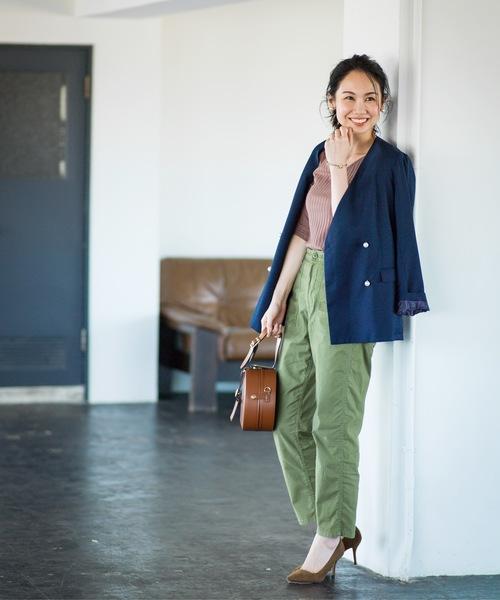 [tocco closet] 《Noriko & Michiko Collaboration Collection》パールボタンノーカラーミディ丈ジャケット