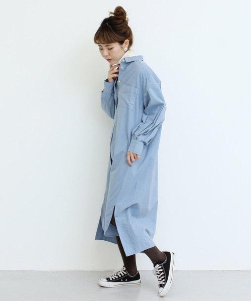 [Dot&Stripes CHILDWOMAN] ●綿オックス製品染め ドロップショルダーシャツワンピース