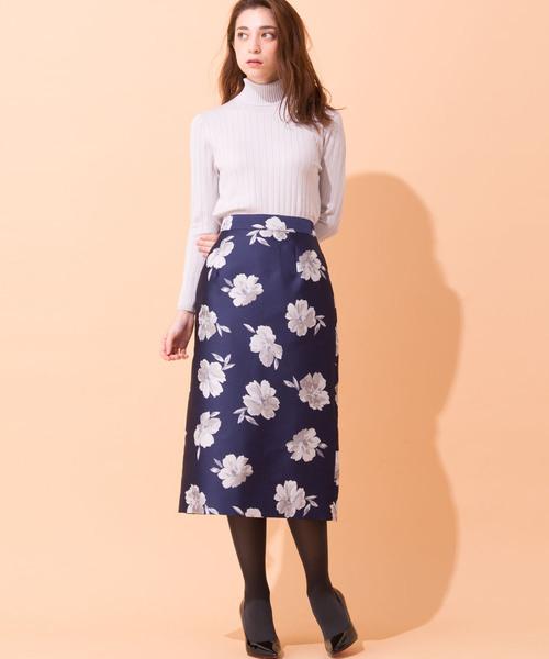 [en recre] 【BE NEAT】フラワータイトスカート