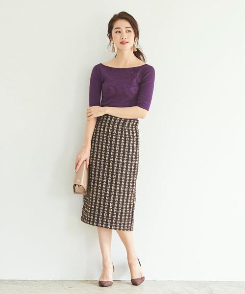 [ur's] ツイードタイトスカート