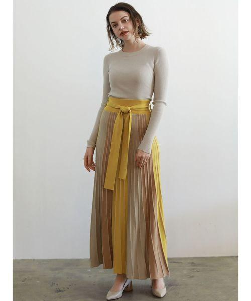 パネルカラーニットマキシスカート