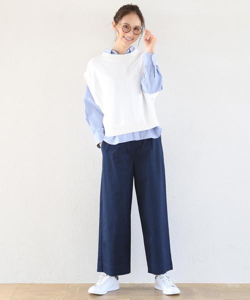 [coen] チノセミワイド8分丈パンツ