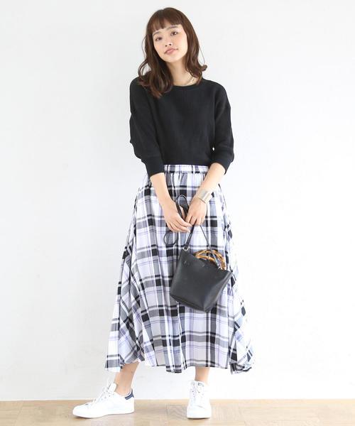 [coen] 【19SS新作・Market】チェックマキシスカート
