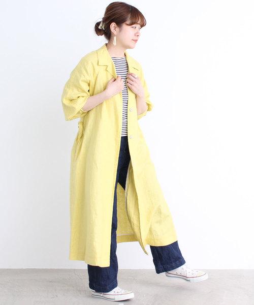 Dot&Stripes CHILD WOMAN 麻チンツ ベルト付き開襟コート