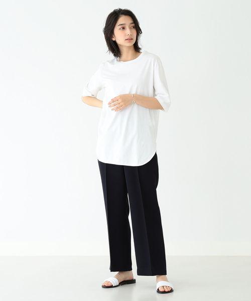 [BEAMS WOMEN] ATON / スビン ラウンドヘム Tシャツ