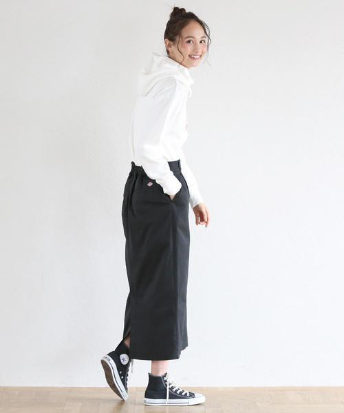 [coen] 【別注】 Dickies(ディッキーズ)ボタンダウンストレッチロングタイトスカート