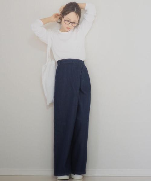 [STUDIOUS WOMENS] 【WEARISTA 田中亜希子 コラボ】ウエストラップワイドデニム