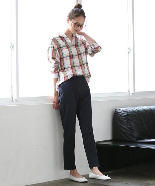 [coen] コットンテンセルバンドカラーチェックシャツ