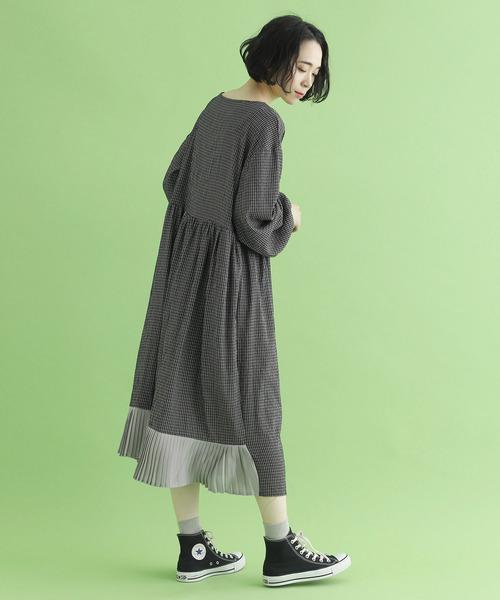 [merlot] チェック柄プリーツ裾ギャザーワンピース8173