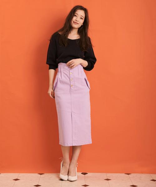 [Noela] バックリボンハイウエストスカート