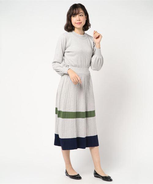 [archives] 裾配色ボーダープリーツニットワンピース