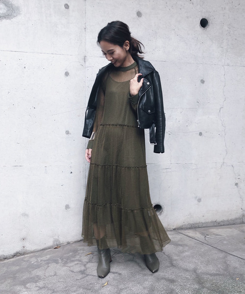 [Ameri VINTAGE] SHIRRING SHEER DRESS