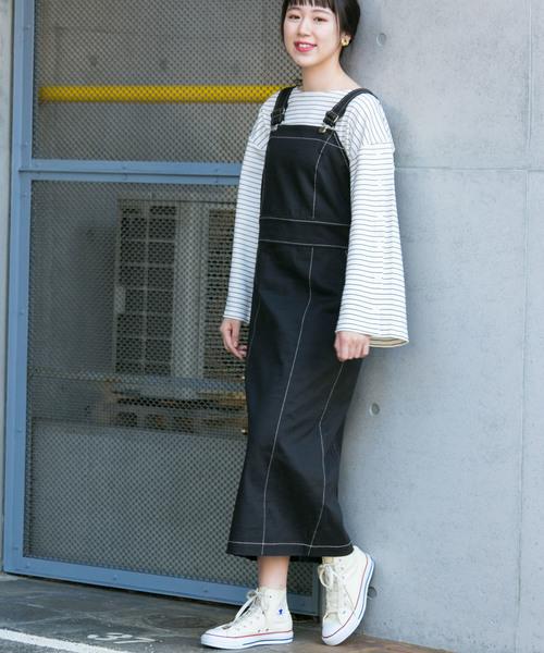 KBF+ 配色ステッチジャンパースカート
