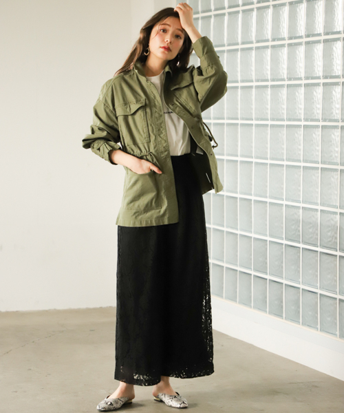 [mysty woman] ミリタリーオーバーシャツジャケット 823448