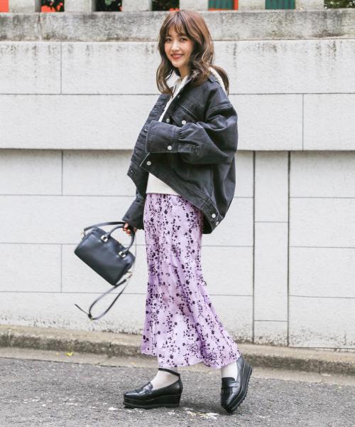 [Heather] バックロングデニムジャケット