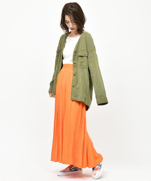 [CIAOPANIC] 【追加生産】テンセルVカラーシャツジャケット/ミリタリージャケット/スプリングコート
