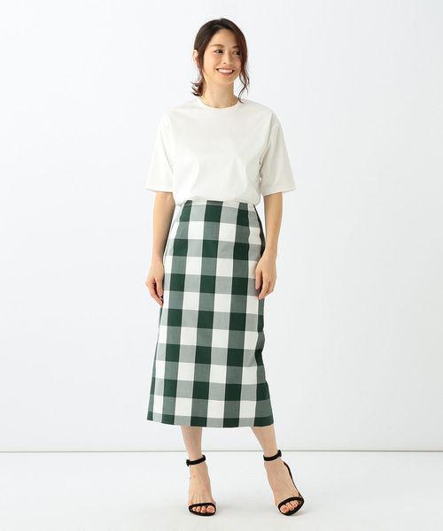 [BEAMS WOMEN] Demi-Luxe BEAMS / ビッグギンガムチェック タイトスカート
