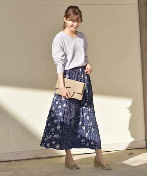 [rps] ドット柄×花柄切替ロングスカート