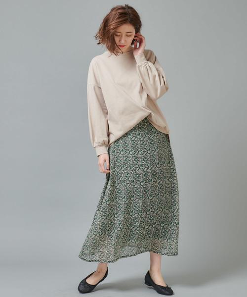 [Discoat] シフォン小花柄ロングスカート