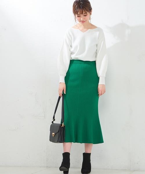 [natural couture] マーメイドニットスカート