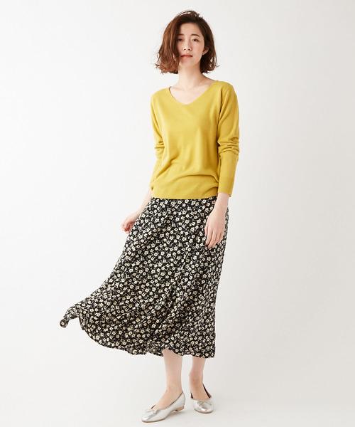 [Discoat] 単色花柄フレアスカート