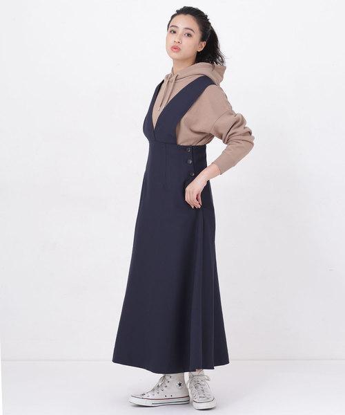 [nano・universe] 【WEB限定】サイドボタンジャンパースカート