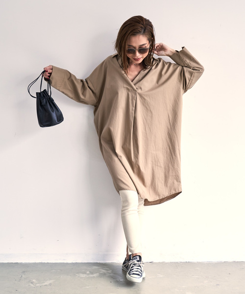 [Auntie Rosa] 【Holiday】スキッパーロングシャツ