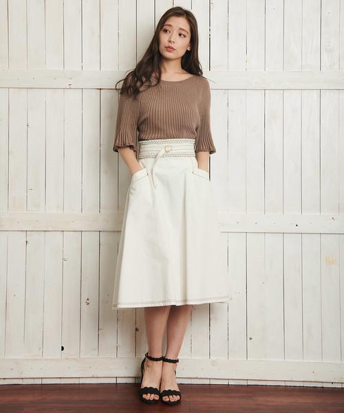 ホワイトデニムスカート3