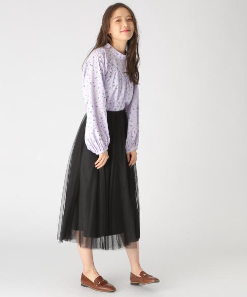 [mysty woman] チュールフレアロングスカート 828681