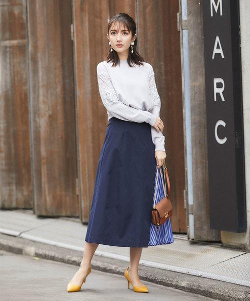 [tocco closet] 無地×ストライププリーツパネルスカート