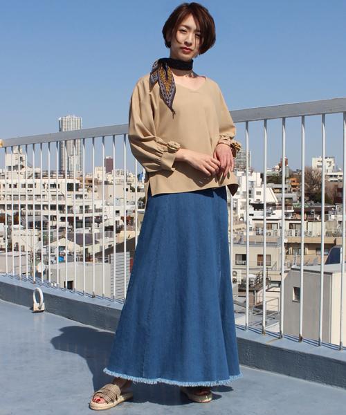 デニムロングスカート【大きいサイズまで対応】
