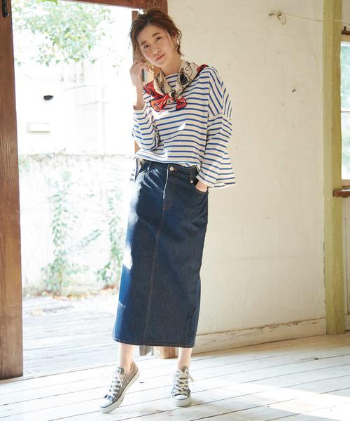 デニムロングタイトスカート