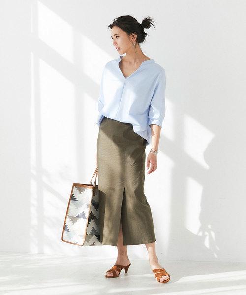 [GALLARDAGALANTE] リネンロングタイトスカート