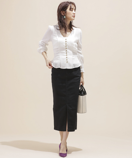 [nano・universe] I-line slim fit skirt
