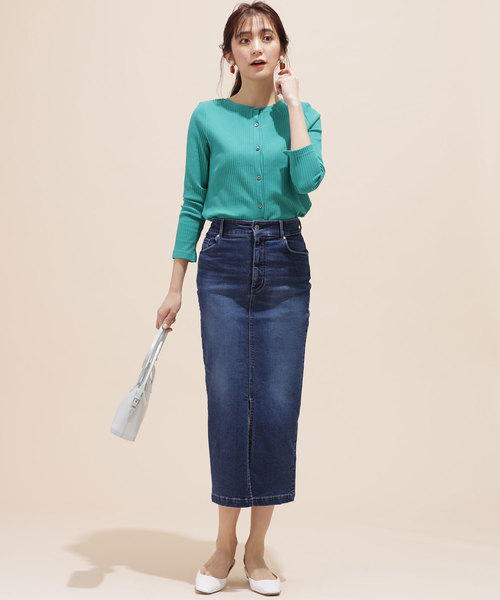 [nano・universe] I-line slim fit denim skirt