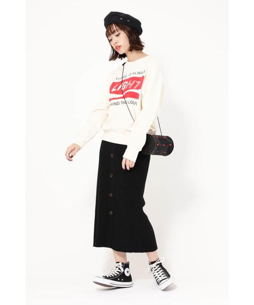 [ROSE BUD] (ROSE BUD) フロントボタンニットスカート