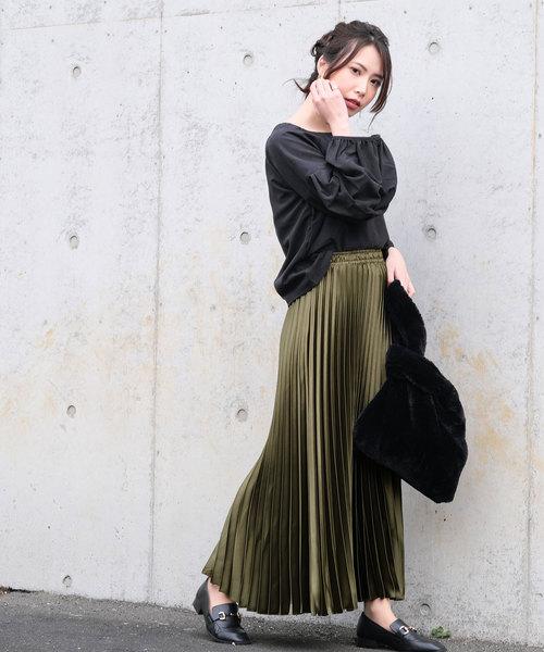 [ANDJ] ヘビーサテンアコーディオンプリーツスカート