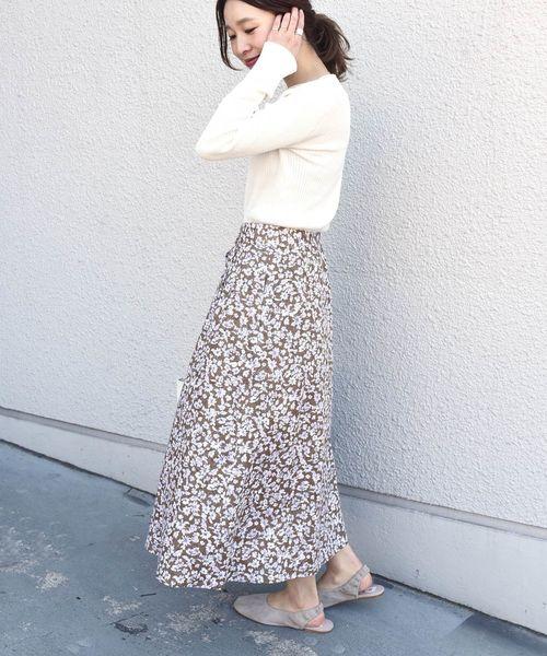 [SHIPS for women] フラワージャカードボタンスカート
