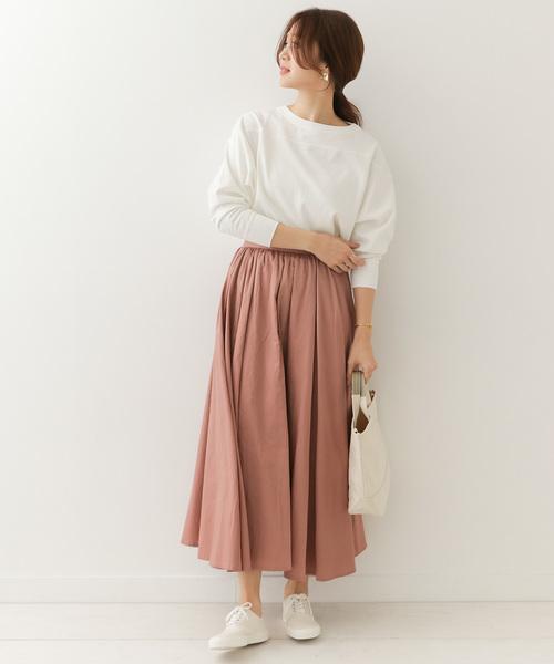 [URBAN RESEARCH DOORS] コットンサテンギャザーフレアマキシスカート