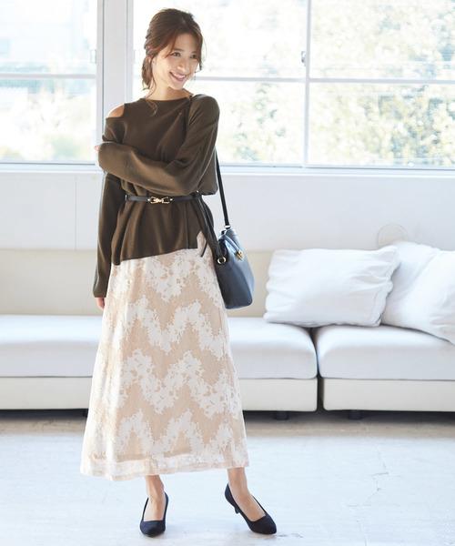 [ViS] 【WEB限定】フラワーレースロングスカート