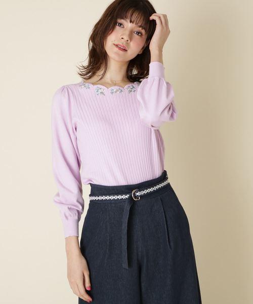 [Couture brooch] 【WEB限定サイズ(S・LL)あり】スカラップネックフラワーニット