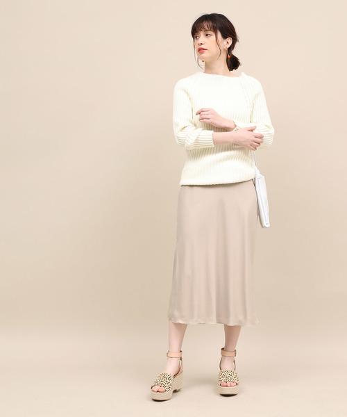 [ROPE'] バックサテンミディマーメイドスカート