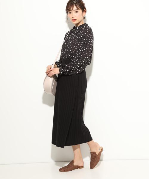 [ViS] 【WEB限定】リブニット巻きスカート