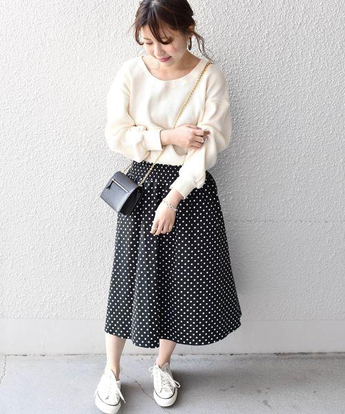 [SHIPS for women] Khaju:ギンガムチェック・ドットギャザースカート