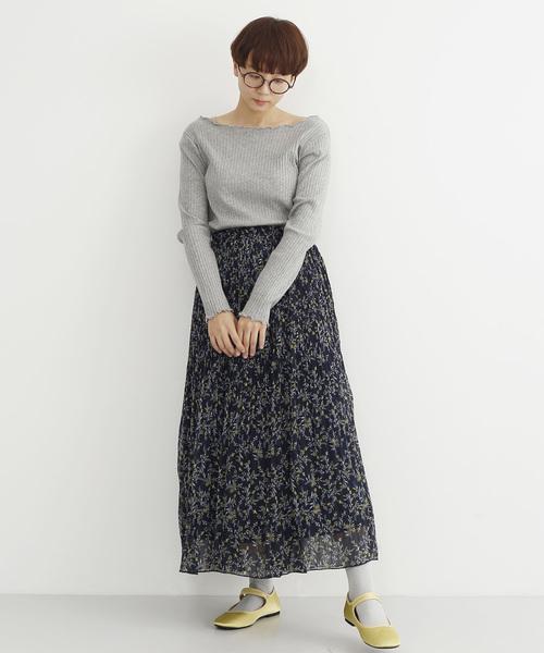 [merlot] 花柄プリーツスカート1783