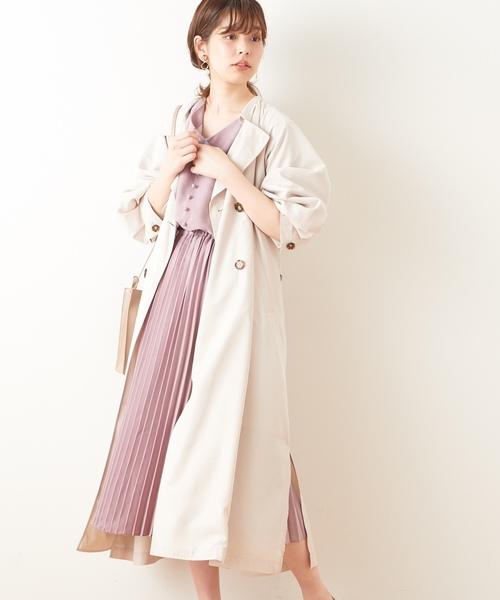 [natural couture] おしゃれプリーツワンピース