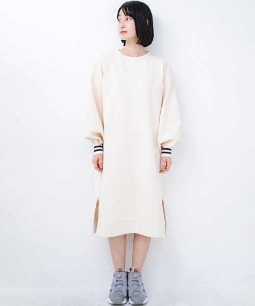 [haco!] 子どもっぽくならない 袖ボリュームのきれいめ大人女子スウェットワンピース