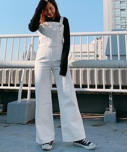 [Roomy's] Denim flare overalls